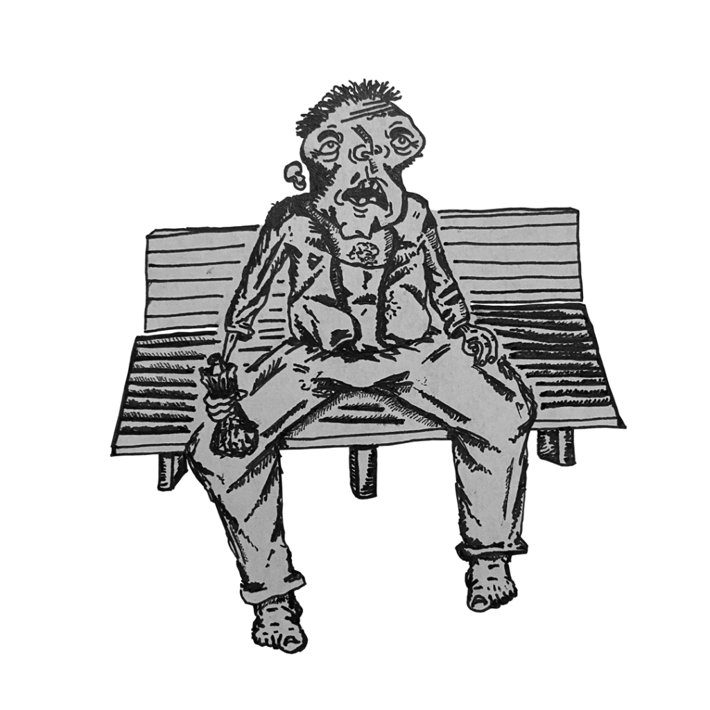 gray and black drawing of a tired-looking man sitting on a bench