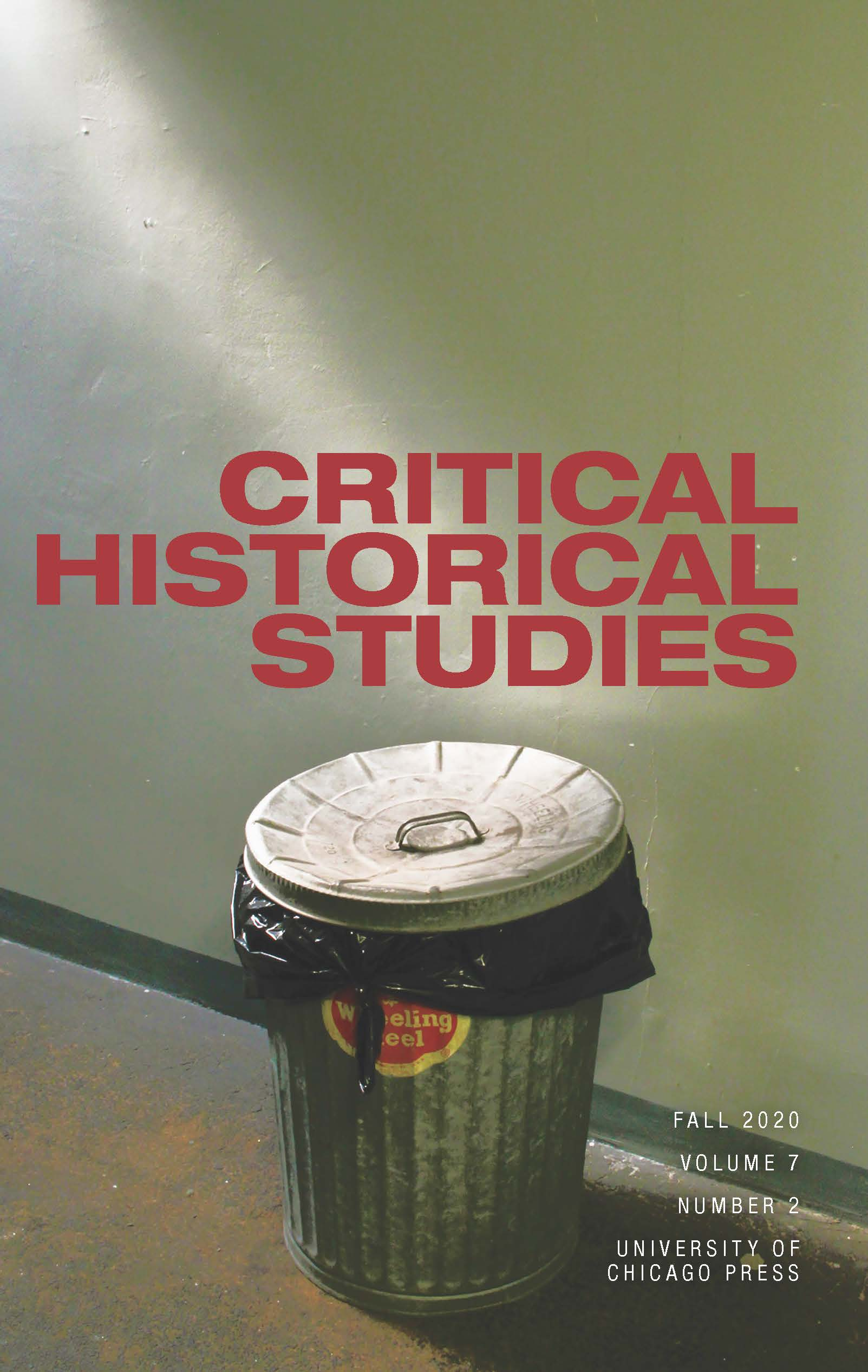 Cover of Fall 2020 issue of Critical Historical Studies journal showing an old metal garbage can from a high angle with dramatic light shining on it from above and to the left