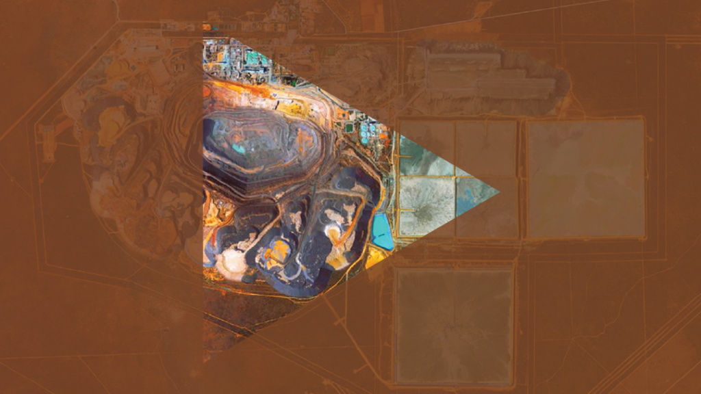 graphic showing colorful birdseye view of a quarry with play button superimposed above it