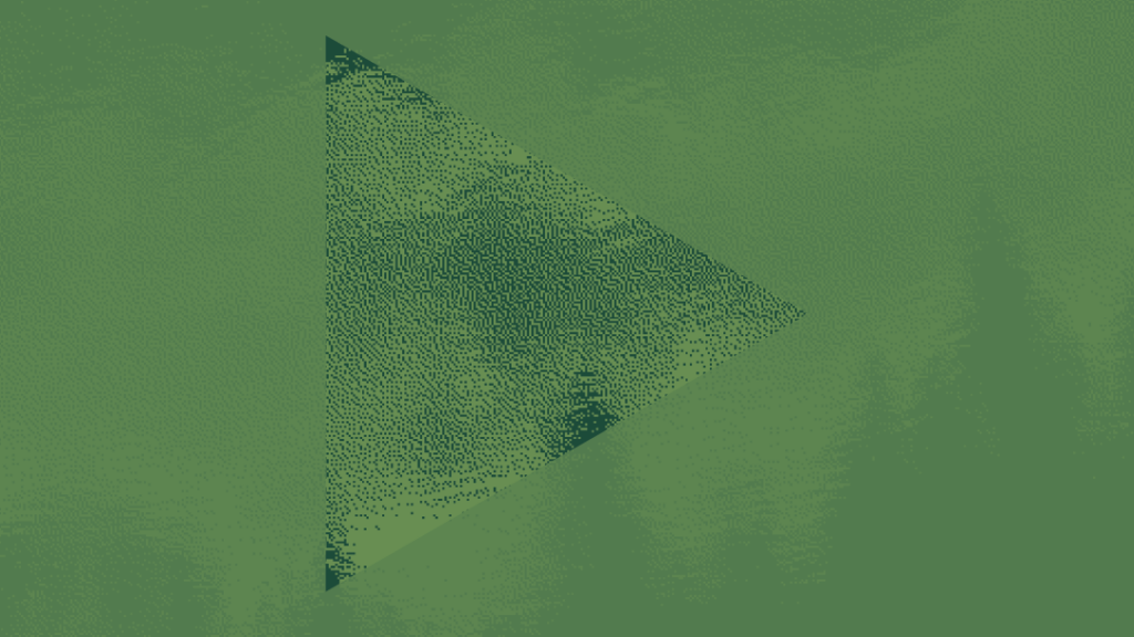 play icon superimposed over a two-tone green image of a forest and cloudy sky