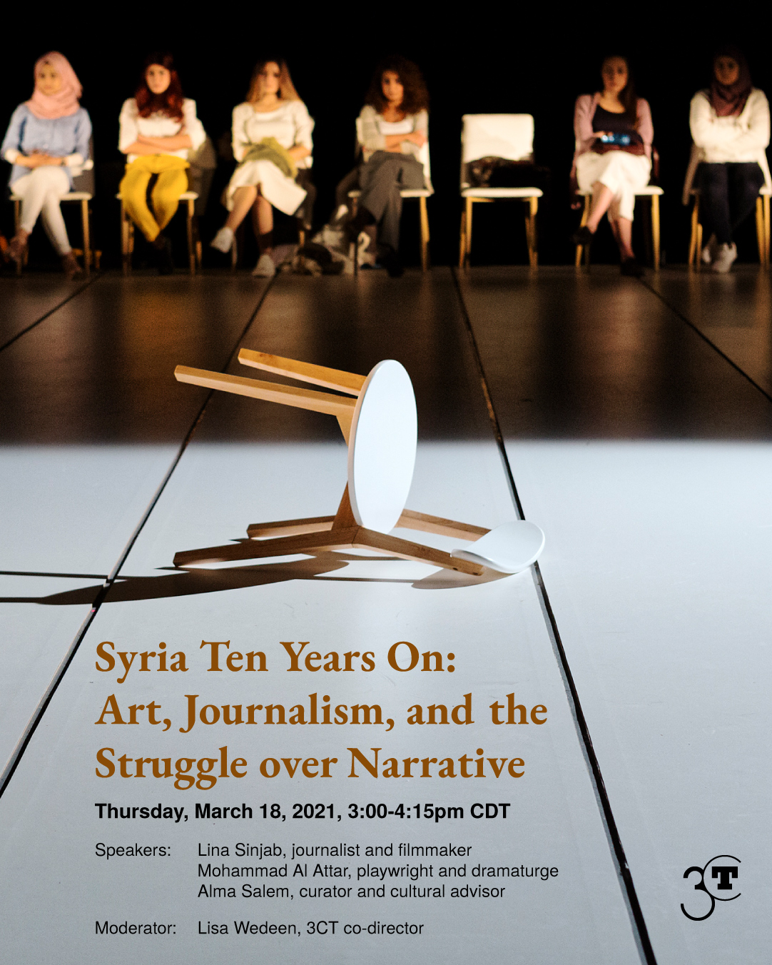 event poster featuring a photo of six seated women in a dark background looking at a well-lit toppled chair in the foreground