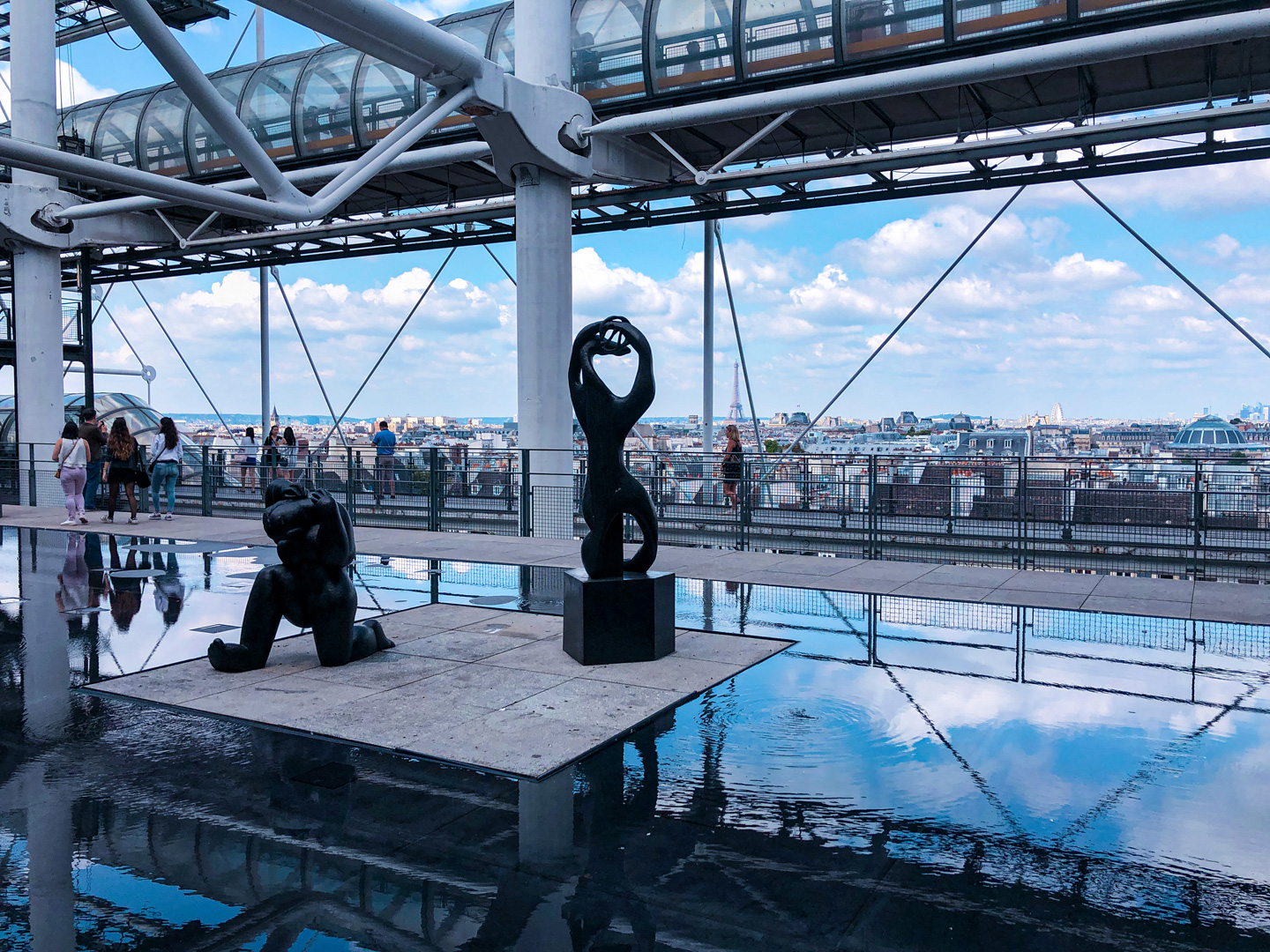 view from the top of the Centre Pompidou in Paris; with sculptures, reflecting pool, passersby, and skyline