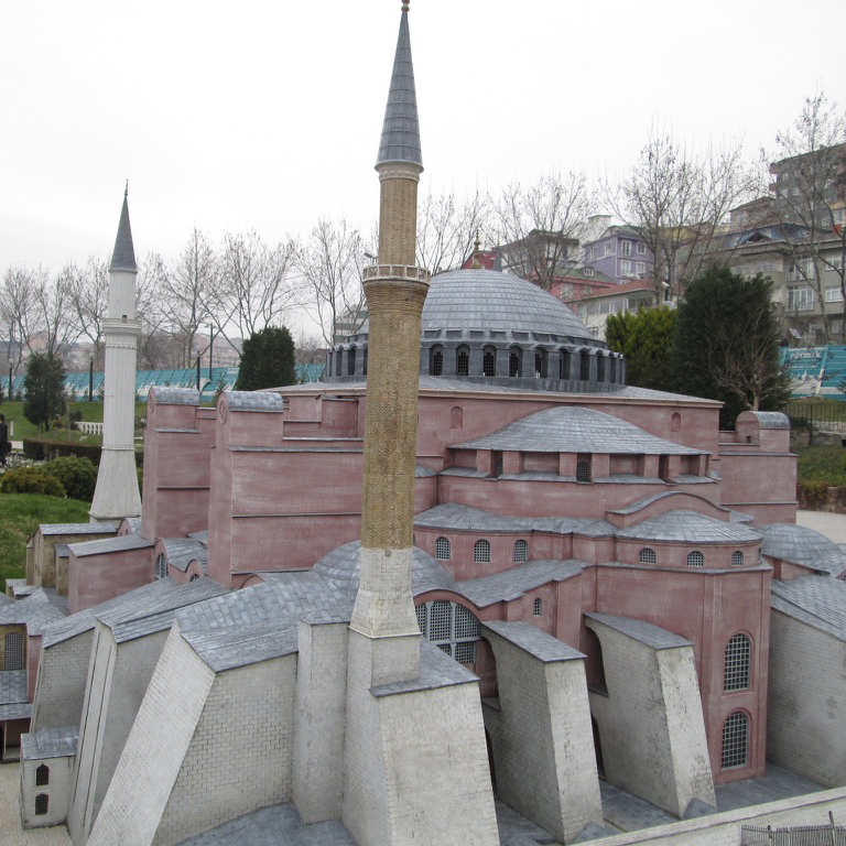 small-scale model of the Hagia Sophia building situated in a park