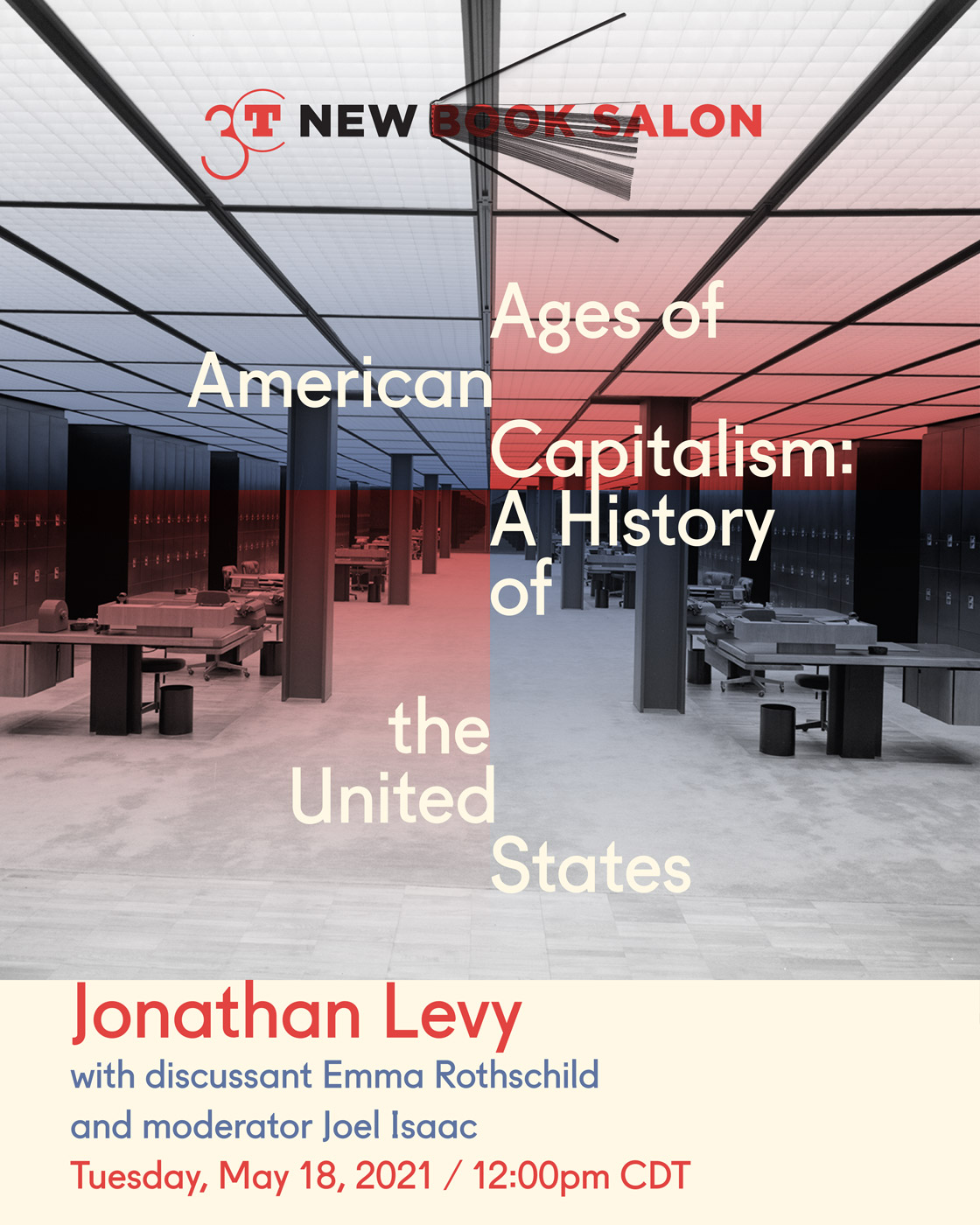 Promotional graphic for Jonathan Levy's New Book Salon