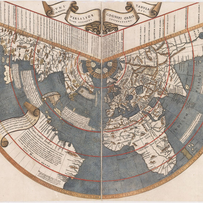 square crop of antique world map
