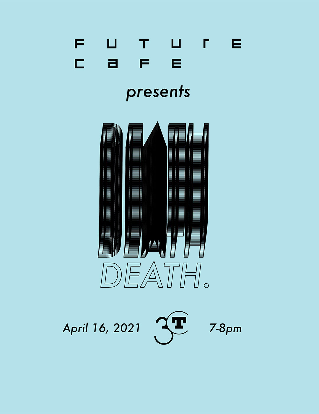 Event flyer with black text on a light blue background