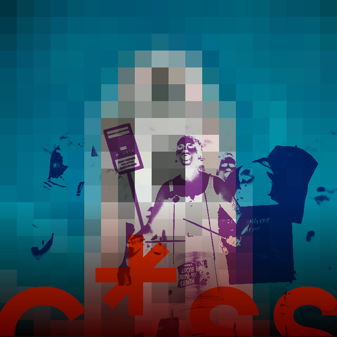 pixelated graphic of people holding a sign and shouting