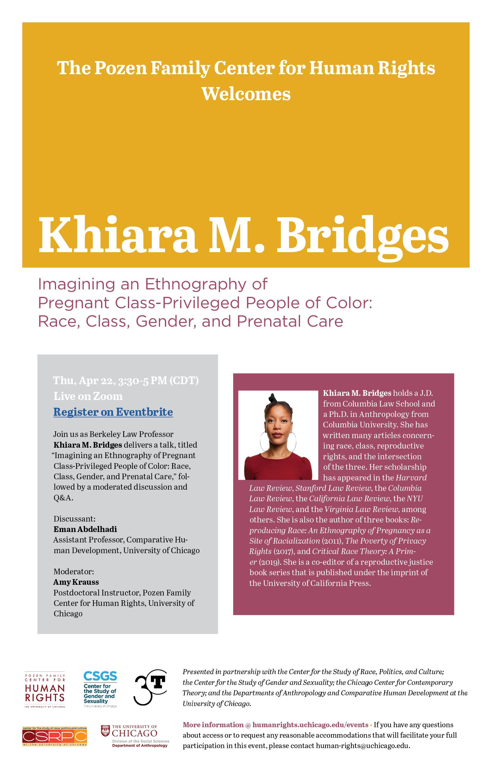 flyer for Khiara M. Bridges event