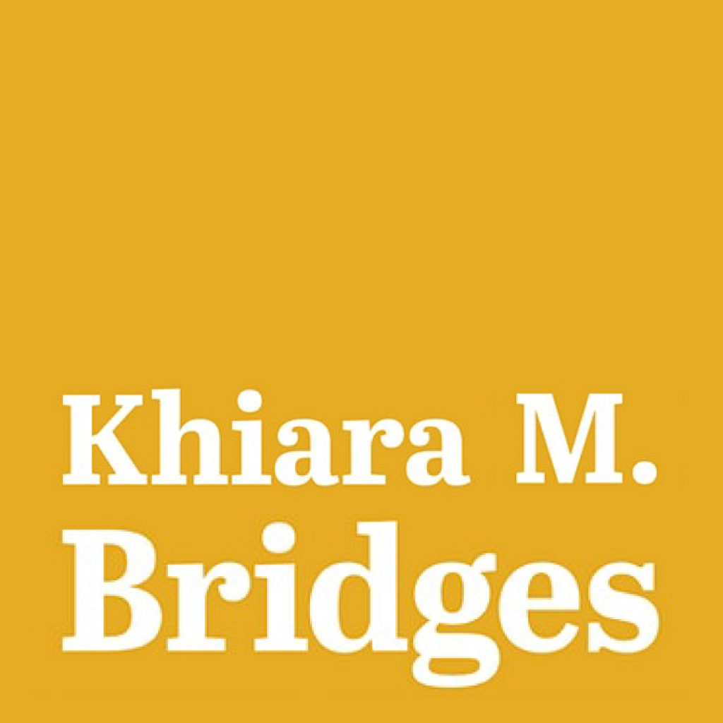 """Khiara M. Bridges"" on a square yellow background"