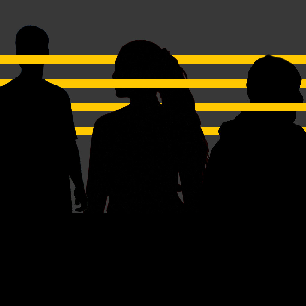 silhouettes of three figures against gray background with yellow lines across mouths