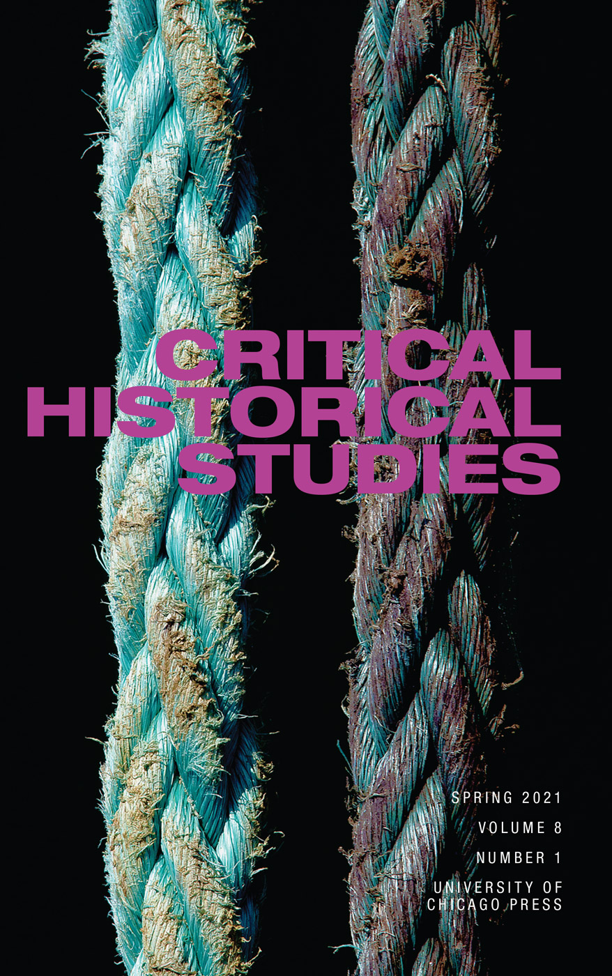 Cover of Critical Historical Studies featuring a detail of two parallel ropes