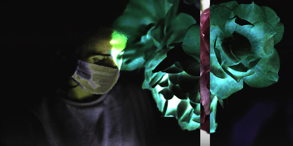 dark image of a person in medical scrubs and a mask looking down and to the right. A muted green and red floral image is superimposed on the right.