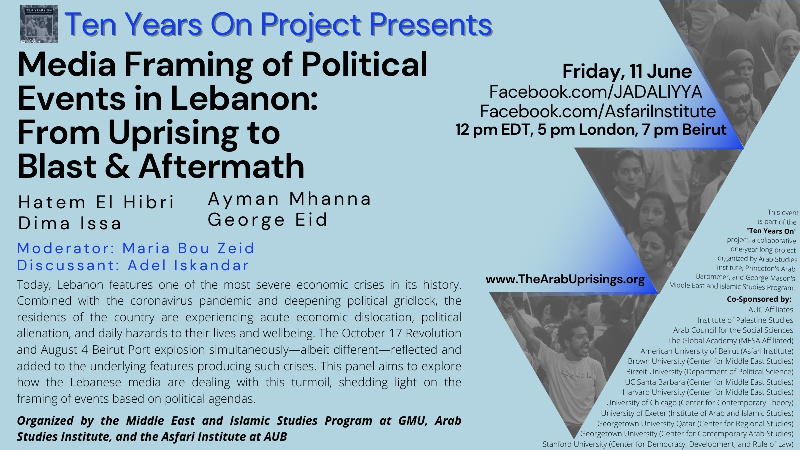 event flyer for Media Framing of Political Events in Lebanon