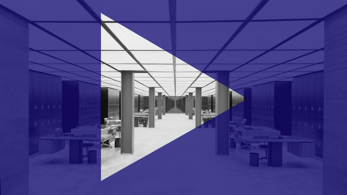 graphic with black and white architectural interior overlaid with play symbol
