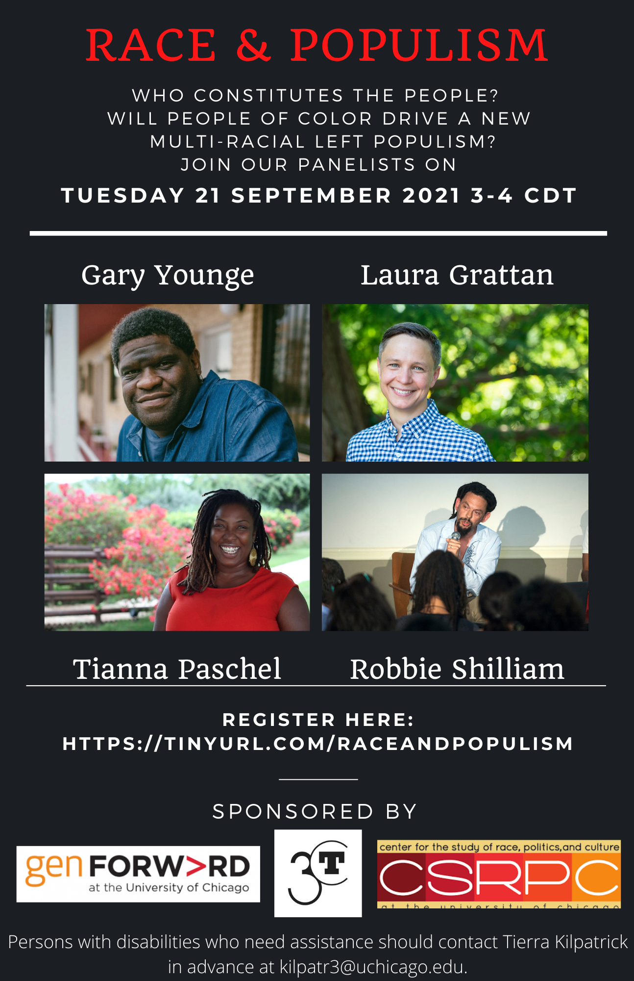 poster for September 2021 event on Race and Populism