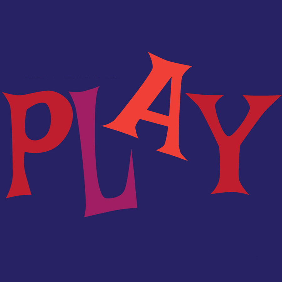 The word PLAY in red letters against a blue background