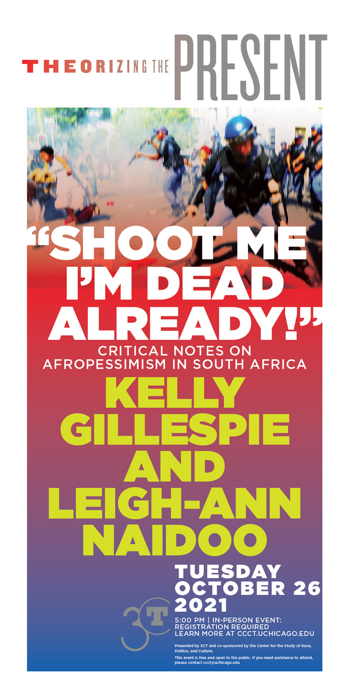 poster featuring blurred image of conflict between police and protestors and text with event title, names, and date